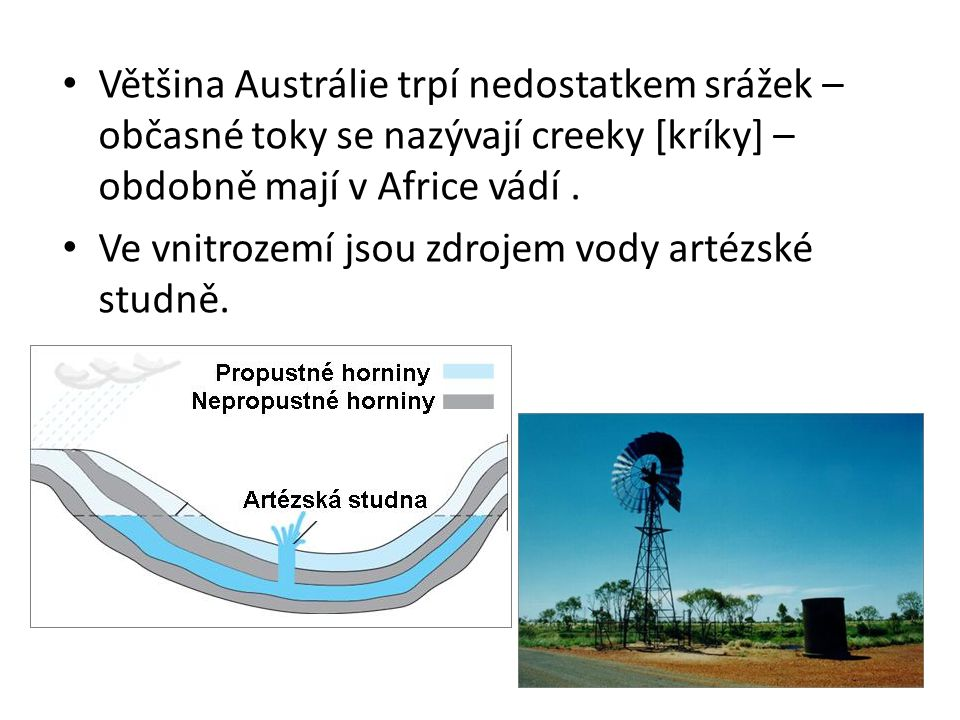 Většina Austrálie trpí nedostatkem srážek – občasné toky se nazývají creeky [kríky] – obdobně mají v Africe vádí .